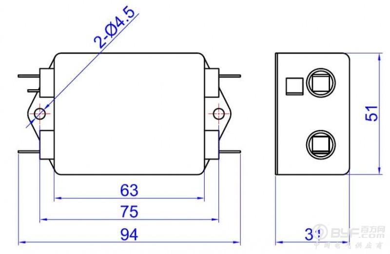 插入损耗 Insertion Loss in dB   共模(common mode/asymmetrical mode), 差模(differential mode/symmetrical mode) 50Ω测量系统,GB7343/CISPR NO.17出版物 Measured in 50 ohm system ,as GB7343 or CISPR NO.17  外形尺寸(封装)   安装提示: 1 安装位置:滤波器安装的最佳位置应在电源线入口处,以缩短输入线在机箱内的长度,减少