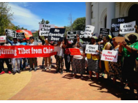 """""""西藏流亡政府""""头目窜访南非演讲 遭大规模抗议"""