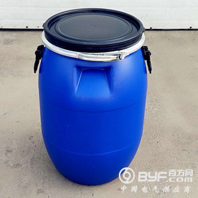 蓝色大口60L抱箍桶 60升法兰塑料桶